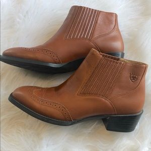 Ariat Wingtip Leather Square Toe Booties